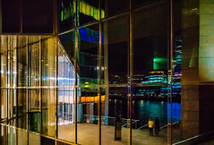 Glabyrinth (Мaistora) Tags: night evening dark drakness light lights city urban architecture windows facade mirror reflection reflections geometry geometric illusion labyrinth street london bridge londonbridge river thames riverside riverbank steps couple colour colours buildings towers offices stairs stairway imagination sony alpha ilce a6000 wideangle ultrawide sel1018oss lightroom luminar explore explored04jun18