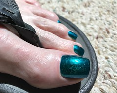 Blue duochrome shift (toepaintguy) Tags: male guy men man masculine boy nail nails fingernail fingernails toenail toenails toe foot feet pedi pedicure sandal sandals polish lacquer gloss glossy shine shiny sexy fun daring allure gorgeous colors by larowe emerald illusion green blue duochrome birkenstock
