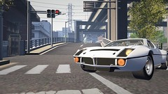 Maserati Beagle (alexandriabrangwin) Tags: alexandriabrangwin secondlife 3d cgi computer graphics virtual world photography japan toyko white bloom street city maserati bora v8 70s 1970s supercar driving driven beagle dog behind wheel bright contrast traffic lights crossing zebra concrete overpass