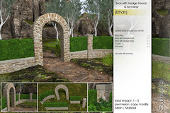 Sway's [Ethan] Brick with Hedge Fence & Archway | FLF (Sway Dench / Sway's) Tags: kit landscape outdoor fence archway gate brick wall hedge sl vr
