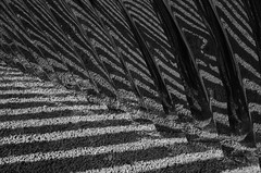 Steel and gravel (Tarantoga) Tags: reflections ricohgr monochrome abstract architecture steel gravel shadow patterns