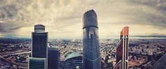 Moscow City 174 th floor #panorama (NO PHOTOGRAPHER) Tags: blackandwhite monochrome architecture architectural urban building outdoor iphoneography iphonephotography exterier russia moscowcity technoart sky clouds moscowphotography blue skycraper iphone 6s panorama panoramatic москва россия архитектура строительство река мост