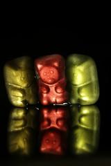 Gummy Bears After Dark (K M V) Tags: gummybears gummibears gummibärchen gummibärli candy macromondays macro dark afterdark darkness light backlit vastavaloon karkki three drei trois tre kolme reflection heijastus colors red rot rouge punainen röd rosso jaune keltainen gelb yellow gul gialla grön vert verde vihreä green grün värit farben färg couleurs colori colours