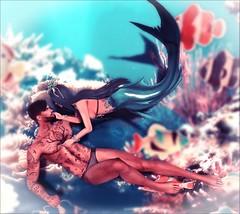 This must be underwater love, The way I feel it slipping all over me.... (☾☾Ṁṣ Ṃȭłłỳ ☽☽) Tags: secondlife hot cute sexy mesh beauty fashion cutie portrait sweet catya catwa lara maitreya justme ginger redhead heterochromia couple friends love hug hold sweeties underwater mermaid fantasy
