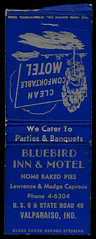 Bluebird Inn and Motel at Valparaiso, Indiana - Matchcover (Shook Photos) Tags: match matches matchcover matchcovers matchbook matchbooks smoke smoking promotion promotional advertise advertising portercounty valparaisoindiana valparaiso indiana bluebirdinn bluebirdmotel motel inn