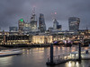 Skyline (tosch_fotografie) Tags: london night blue hour skyline themse water river boat skyscraper lights glass cranes flow bridge building clouds long time exposure olympus em1