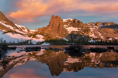 Lake Helene Sunrise (NickSouvall) Tags: lake water pond reflection mirror glass calm morning sunrise color orange red pink sky clouds cloudy alpenglow glow mountain notchtop rocky mountains national park colorado colorful peak alpine range snow spring summer