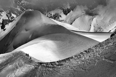 Light and shadow (SLpixeLS) Tags: blackandwhite chamonix aiguilledumidi cloud 3842meters 12602feet hypoxialimit mountain landscape snow france art artistic artphotography mist bestcapturesaoi
