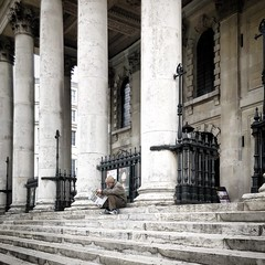 The loneliness of London (Flamenco Sun) Tags: church steps news paper england morning isolation loneliness london