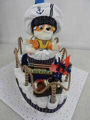 Boat diaper cake (Thong Bartlett) Tags: babyshower pirate diapercake redblueandwhite stuffed animal starsspangled hobbylobby target boat godblessamerica