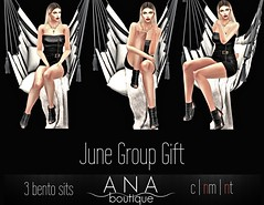 JUNE Group Gift! 3 bento sits (Anastassiana | Ana Boutique SL) Tags: secondlife sl virtualworld maitreya bento catwa sit poses posing anaboutique gift groupgift