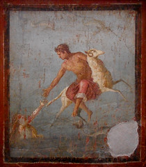 """The myth of Phryxos and Elle"" - wall painting (1st century AD) from Pompeii - Exhibition ""Hero"" up July 31, 2018 at Archaeological Museum of Naples (Carlo Raso) Tags: myth phryxos elle wallpainting pompeii exhibition hero archaeologicalmuseum naples"