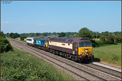 Off the Beaten Track (Resilient741) Tags: class 57 bodysnatcher ronny ronnie 57002 57305 pullman drs direct rail services livery aga abellio greater anglia whitchurch shropshire england train trains railway railways br british 82121 dvt driving van trailer june summer 2018 5z56 cf nc
