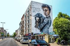 Help # 2 (JuliSonne) Tags: streetart urbanekunst mauer wall graffiti colors scene urban pasteup stencil street berlin onur west21 herakut muralfestivalberlin