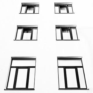 black framed windows