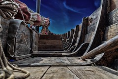 Deck of a Viking Longship (primosavage) Tags: long light narrow norse viking longship ship longboat prow stern steeringoar scandinavian boatbuilding tradition 32ft singlemasted 5pairsofoars shallowdraft hull speed overlapping planks larch oak rib scarfed caulking iron rivets