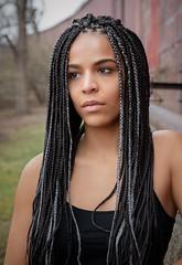 Oscany (QuarryClimber) Tags: naturallight outdoorportrait brunette browneyes braidedhair city urban pretty beautifulwoman female woman sonya7riii sony85mmgm