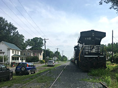 Quiet Memorial Day afternoon at the Junction (Photo Squirrel) Tags: shenandoahjunctionwv westvirginia norfolksouthern siding town worktrain mow sky clouds