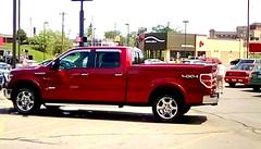 Another red pickup truck - HTT (Maenette1) Tags: red pickuptruck parkinglot mmplaza menominee uppermichigan happytruckthursday flicker365 allthingsmichigan absolutemichigan project365 projectmichigan