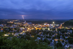 Storm Over Red Wing, MN (Sam Wagner Photography) Tags: skyline drive high angle memorial park blue twilight hour dusk storm lightning bolt wide long exposure small rural minnesota midwest mn st croix river bluff view vista spring city cityscape
