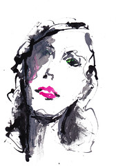 [20180404]-2 (rodneyvdb) Tags: abstracted art contemporary drawing expression expressionism fashion femme illustration ink model painting portrait woman