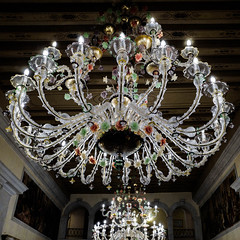 Venise - Lustre en verre de Murano dans un hôtel vénitien. (Gilles Daligand) Tags: venise lustre verre murano hôtel