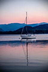Evening on the Lake (PJ Swan) Tags: ullswater dusk evening boat vignette lake pinks vignetting