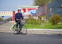 Back to work in the steel mill, North Korea (TeunJanssen) Tags: cyclist work korea communist northkorea dprk korean cycling ypt youngpioneertours steel steelmill nampo factory chollima backpacking travel traveling worldtravel olympus omd omdem10