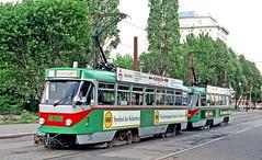 MVB Magdeburg: 1256 plus another refurbished T4D parked at the Hauptbahnhof (Mega Anorak) Tags: tram tramcar trolleycar streetcar strassenbahn magdeburg mvb ckd t4d rebuilt