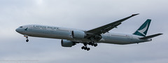 Cathay Pacific 777-300 ER landing at London Heathrow (Alaskan Dude) Tags: travel europe england london londonheathrowairport heathrow myrtleavenue planespotting planewatching airplanes aviation jets airlines airliners