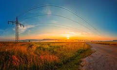 Rope Jump (M-Z-Photo) Tags: ansbach bayern deutschland de sonnenaufgang landschaft hdr morgenstimmung strommasten felder panorama natur