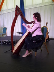Harpist at Aras an Uachtarain - Inside the Marquee at the Garden Party June 2018 (sean and nina) Tags: aras an uachtarain irish ireland eire eireann garden party marquee indoors inside tent formal gathering dinner meal entertainment people persons performers performances candid public male female summer june 2018 dublin phoenix park state residence home michael d higgins president tables seated sitting food drink happy colour color colourful colorful white unposed posed posing singing music musicians harp musician harpist trad traditional
