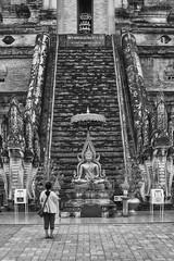 Wat Chedi Luang (Thomas Mülchi) Tags: chiangmai chiangmaiprovince thailand 2018 monochrome bw architecture sunny buddhism buddhisttemple temple woman person people changwatchiangmai th