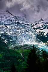 Les Bossons Glacier (Fr Paul Hackett) Tags: glacier montblanc mountain clouds trees conifers