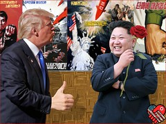 Souvenir Photograph: Singapore Summit (Sandy Qumbayah) Tags: northkorea trump kim souvenir bighands smile propaganda posters coy kiss hugehand donald summitmeeting singapore june12 fascist dictators right demagogues totalitarian nuclearweapons menace liars racist warmonger obese psychopaths glutton fat