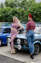 Pin-up style girls at autoshow (yedmitry) Tags: purple pinup model ukrainian beauty car motorshow