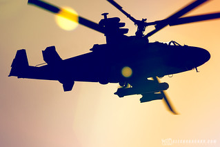 Helicopter Kamov Ka-52 during training of the air part of the Victory Parade