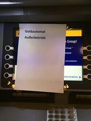 Außerbetrieb[lich] (mkorsakov) Tags: dortmund nordstadt hafen post postoffice geldautomat atm defekt damaged zettel flyer hinweis info rechtschreibung