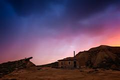 Storm Omen (Bardenas) (Alejandro García Sepúlveda) Tags: bardenas atardecer tormenta rayos viento nubes luces casetica rocas desierto relámpagos navarra sky landscape grass sunset storm thunderbolt wind clouds lights rocks hut azul blue