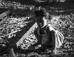 By the Tracks (Rod Waddington) Tags: africa african afrique afrika madagascar malagasy railway tracks girl child culture cultural ethnic ethnicity playing blackandwhite monochrome outdoor people poor