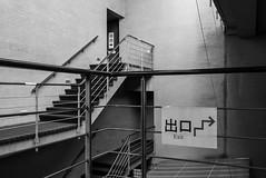 Japan-Hosomi (rwscholte) Tags: japan kyoto hosomi bw blackandwhite exhibition exit leicadluxtyp109 leica architecture museum kyotographie rwscholte lines building abstract sign geometric