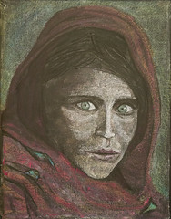 In an attempt to portrait women in the TANAKH, I used Steve McCurry's portrait of Sharbat Gula for the role as Rahab in my blackboard drawing. A woman's plight is universal. More for my own therapy then for my 3rd Grade. (ArneKaiser) Tags: 3rdgrade hws haleakalāwaldorfschool mrkaisersclass sharbatgula stevemccurry womeninthebible chalkart chalkboard chalkdrawings