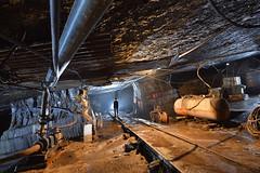 Voie ferrée (flallier) Tags: voieferrée rails railroad railway chemindefer carrière souterraine underground quarry mine mining tuyaux compresseur cuve silhouette
