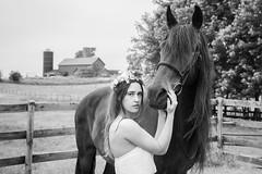Tender Bond (jeff_a_goldberg) Tags: nicolemodel spring monochrome nicolevaughn models farm bw horse portrait model ringwood illinois unitedstates us