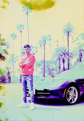 Colorful (Joe Ascioti) Tags: canon ae1 program camera 35mm film 50mm lens zack knight artist singer music video kodak vision 2 5201 50d cinema stock cross processed e6 chemistry positive image epson v700 chevy corvette black palm trees california yellow blue colors experimental imperfections behind the scenes photography portrait