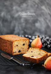 Fresh homemade delicious loaf cake with pears and prunes (Katty-S) Tags: loaf pear prune bread baked bakery biscuits diet brown breakfast cake crunchy cupcake delicious dessert fluffy food fresh fruit gourmet rustic dark homemade lunch morning muffin party pastry simple snack sugar sweet tasty treat