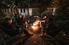 Four Men And A Fire (Rob Pitt) Tags: bbq fire night blue hour sony a7rii samyang 14mm f28 urban