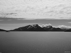 Glacier Bay black and white (MaebellCrafts) Tags: blackandwhite water sparkle mountains clouds landscape cruise travel travelphotography maebellcrafts