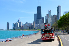 Day at the Beach (dangaken) Tags: chicago chicagoil il illinois summer spring beachday northavenuebeach sand water play sun fun volleyball chicagosummer chicagoweather weather northave northavebeach chicagoparks chicagobeach chicagocitybeach cfd chicagofire chicagofiredepartment fire firetruck firefighter laddertruck ladderco red fireengine bikini bathingsuit brunette hulahoop dgaken dangaken photobydangaken