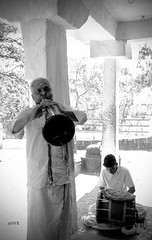 Music for the wedding -- India 2018 (Sandrine Vivès-Rotger photography) Tags: india inde music wedding temple portrait talent artists mariage culture heritage bnw blackandwhite playingmusic